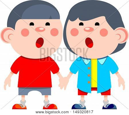 Two boys in cartoon style holding hands