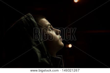 young Man portrait on a dark background