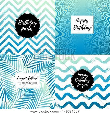 Happy Birthday fashion typography posters greeting cards invitation set in gradient blue black and white. Vector summer background with tropical palm tree leaves strips waves.