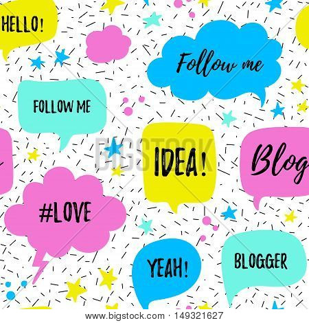 Vector speech bubbles seamless patter with phrases Blog, Blogger, love, follow me. Hand drawn speech bubbles blog labels in grunge style with hashtag. Social media icons set.