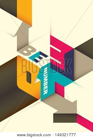Conceptual isometric poster with typography. Vector illustration
