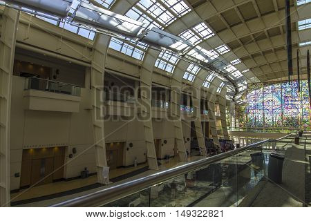 Grand Rapids, Michigan, USA - September 17, 2016: Interior of the main exhibit hall of the Devos Place Convention Center. The center hosts art exhibits, concerts, dance and seminars throughout the year.