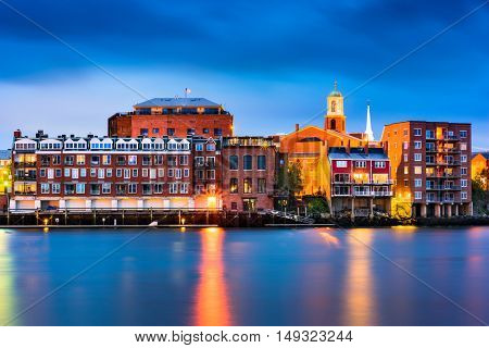 Portsmouth, New Hampshire, USA town skyline on the Piscataqua River.