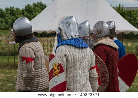 Knights With Silver Helmets And Armors In Line Ready For Battle