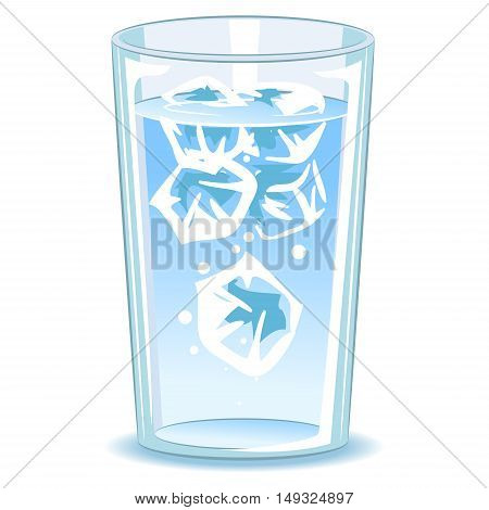 Vector Illustration of Glass of water with ice