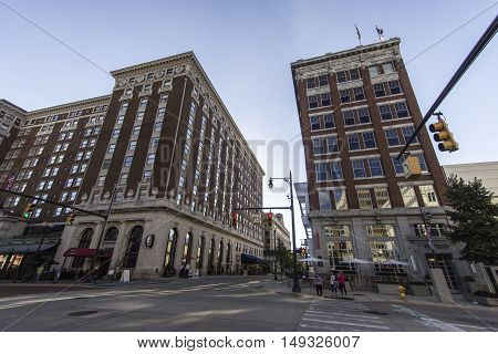 Grand Rapids, Michigan, USA - September 17, 2016: Monroe and Pearl Street in downtown Grand Rapids with the historical Amway Grand Plaza Hotel on the corner. Grand Rapids is one of  the largest cities in Michigan, second in size to Detroit.