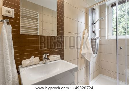 Small Bathroom In Brown Idea