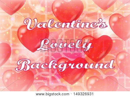 Valentine Holiday Background with Big Red Hearts, Sparks and Abstract Pattern with Geometrical Shapes on Pink and Orange. Eps10, Contains Transparencies. Vector