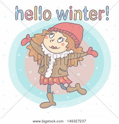 Cute, adorable winter girl with snowflakes, all on colorful background. Vector cartoon of snow falling on a sweet little girl.