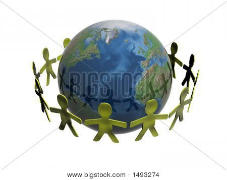 People Keeping For Hands In A Circle Of A Planet