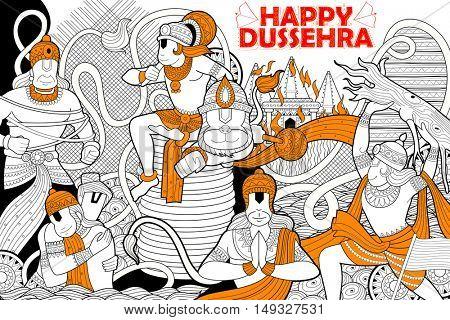 illustration of Hanuman doodle for Happy Dussehra Navratri festival of India
