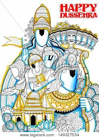 illustration of Lord Ram, Sita, Laxmana, Hanuman and Ravana in Dussehra Navratri festival of India poster
