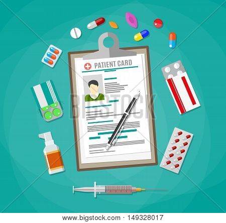 Clipboard with patient card and pen. pills, capsules, syringe, tablets. Healthcare, hospital and medical diagnostics concept. vector illustration in flat style