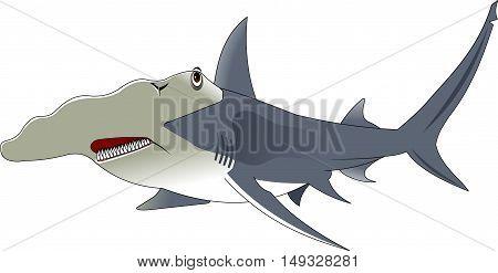 high quality hammerhead shark cartoon character include flat design