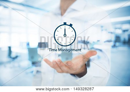 Businessman give you time management business solution. Double exposed image with office in background.