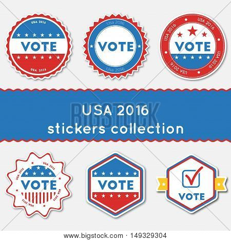 Usa 2016 Stickers Collection. Buttons Set For Usa Presidential Elections 2016. Collection Of Blue An