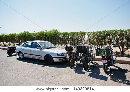 Hurghada, Egypt -20 August 2016: Car And Motorcycles With Egypt License Plate