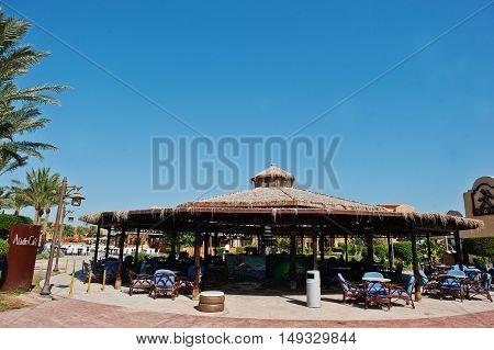 Hurghada, Egypt -20 August 2016: Aladdin Cafe Hookah In Luxury Hotel Resort Caribbean World Soma Bay