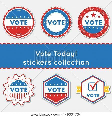Vote Today!. Stickers Collection. Buttons Set For Usa Presidential Elections 2016. Collection Of Blu
