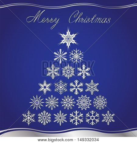 Christmas card with christmas tree from snowflakes and hand lettering on blue background. Vector illustration.