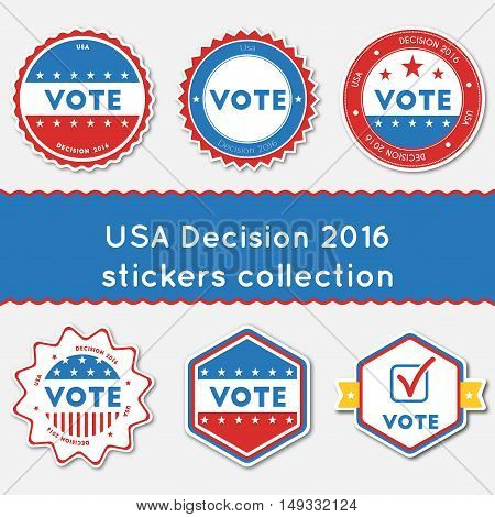 Usa Decision 2016 Stickers Collection. Buttons Set For Usa Presidential Elections 2016. Collection O