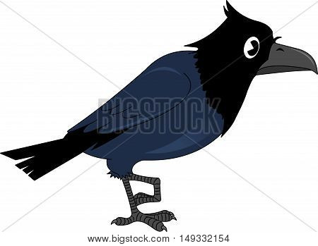 Vector image of the cartoon smiling crow illustration
