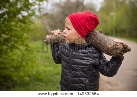 kid boy in red hat carrying big tree branch. Outdoor activites with children. Working in the garden and helping parents to carry wood. outdoors.