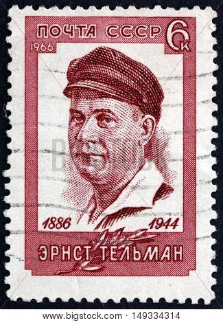 RUSSIA - CIRCA 1966: a stamp printed in Russia shows Ernst Thalmann German Communist Leader circa 1966