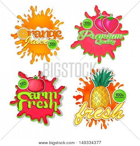 Creative Stickers of Fresh Orange Juice, Strawberry, Pomegranate and Pineapple fruits, Natural Fruit lettering design with splash, Food and Drink concept for Cafe, and Restaurant Menu design.