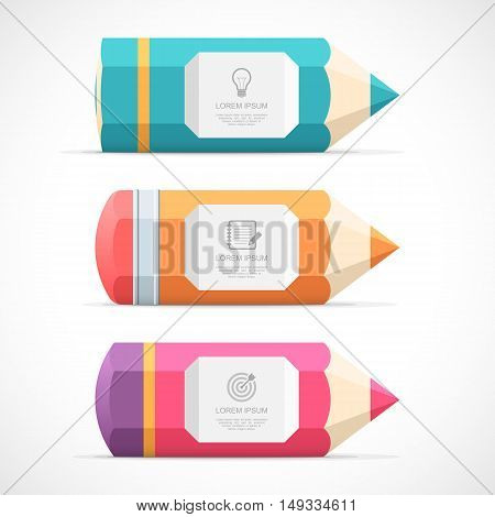 Set of colorful pencil banners. Vector illustration Eps 10