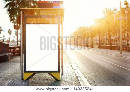 Electronic blank billboard with copy space for your advertising text message or content public information board in the city promotional mock up in urban scene empty Lightbox in metropolitan