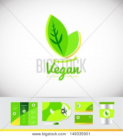 Vegan green leaf product vector logo icon design corporate identity set cd brochure business card