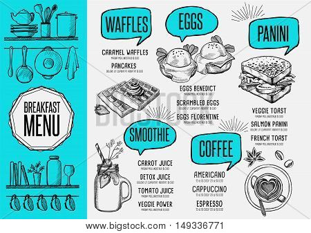 Breakfast menu placemat food restaurant brochure template design. Vintage creative dinner flyer with hand-drawn graphic.