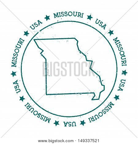 Missouri Vector Map. Retro Vintage Insignia With Us State Map. Distressed Visa Stamp With Missouri T