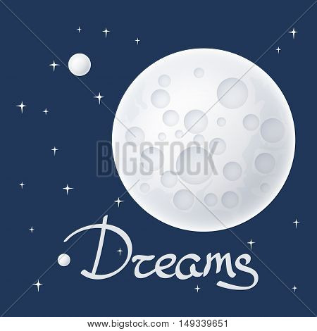 Planet in Space and Text, Moon with Stars, Space Planet with Craters in the Universe, Vector Illustration