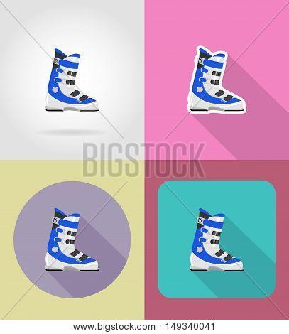 ski boots flat icons vector illustration isolated on background