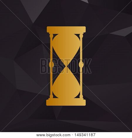 Hourglass Sign Illustration. Golden Style On Background With Polygons.