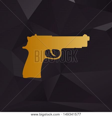 Gun Sign Illustration. Golden Style On Background With Polygons.
