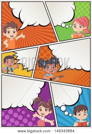 Comic book page with children talking. Comic strip background with speech bubbles.