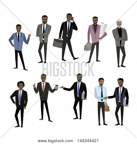 set of different african american businessman character, avatar or app icons in trendy flat style isolated on white background, stock vector illustration