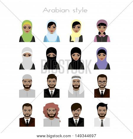 set - face Arab women and man  avatar, isolated on white background, stock vector illustration