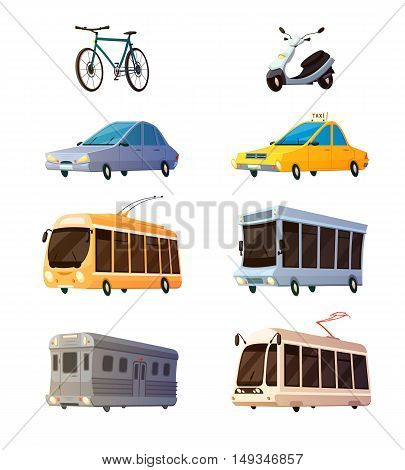 City transport retro cartoon icons set of bus tram trolley railcar bicycle yellow taxi flat images isolated vector illustration