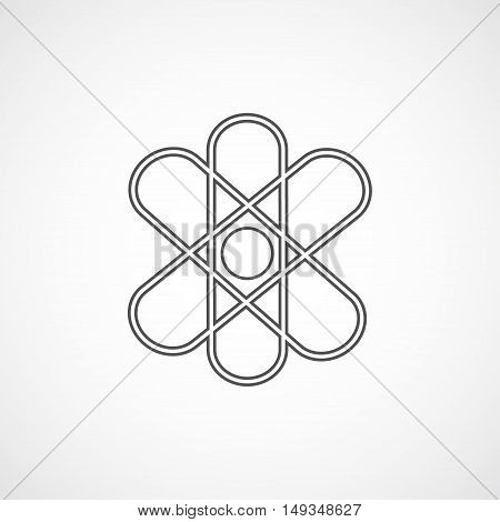 Vector flat stylize line atom icon. Isolated atom icon for logo web site design button app UI. Geometrical line atom illustration for posters cards book cover flyers banner web game designs.