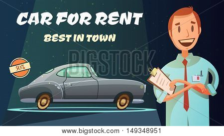 Best rental car prices with excellent service vintage poster with smiling shop owner retro cartoon vector illustration