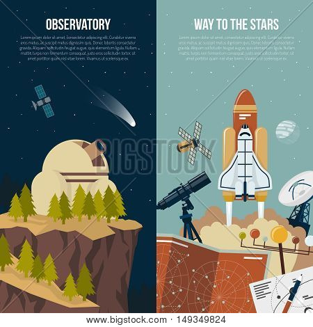 Astronomy vertical banners with observatory in mountains composition and collection of equipment for space flights flat vector illustration