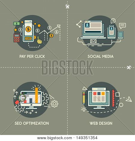 Pay per click, social media, web design, SEO