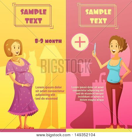 Pregnancy last quarter and strip test 2 vertical banners set with text sample abstract isolated vector illustration