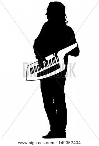 Pianist of rock band on a white background