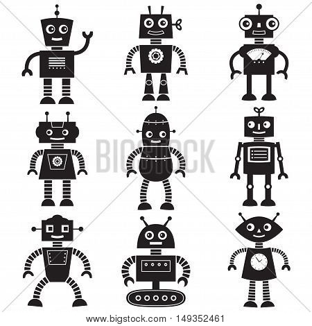 Black robot silhouettes, isolated set of nine