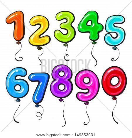 Number shaped bright and glossy colorful balloons, cartoon vector illustration isolated on white background. Set of multicolored number shaped balloons, birthday party decoration elements